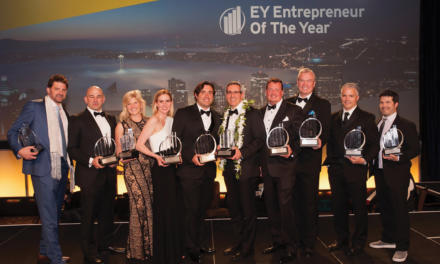 Image of Schmidt's founder and CEO at Entrepreneur of the Year event.